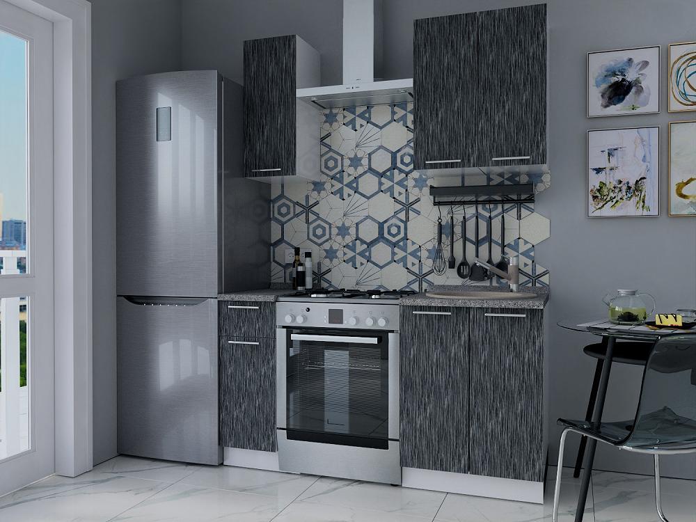 Прямая кухня Валерия-М-12 Серый металлик дождь светлый/Белый
