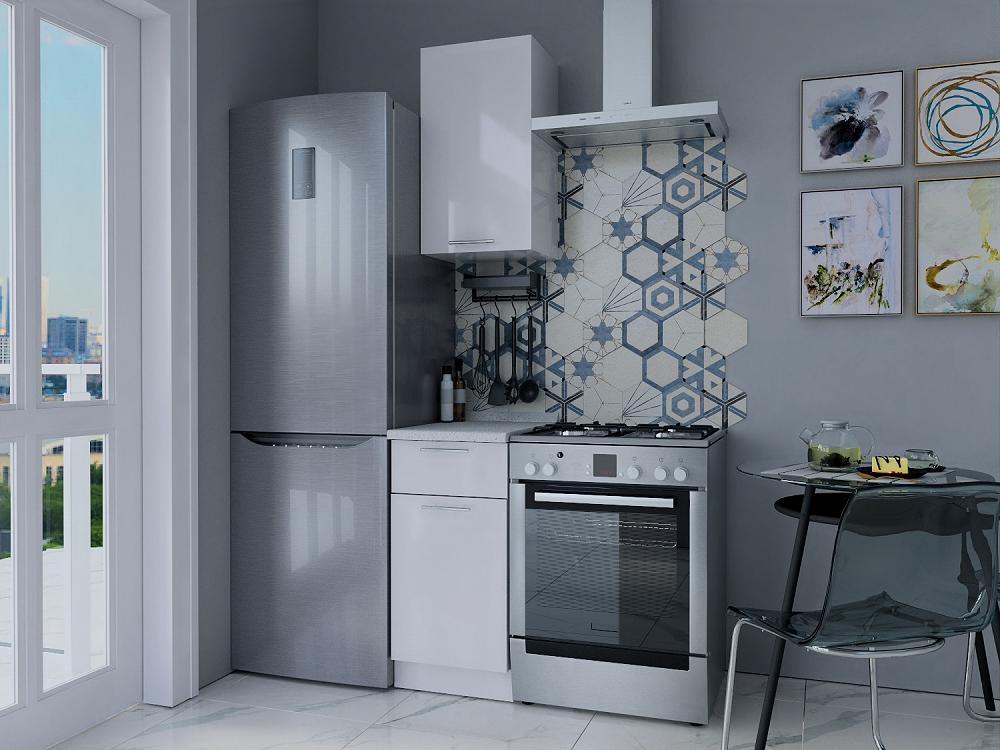 Прямая кухня Валерия-М-14 Белый глянец/Белый