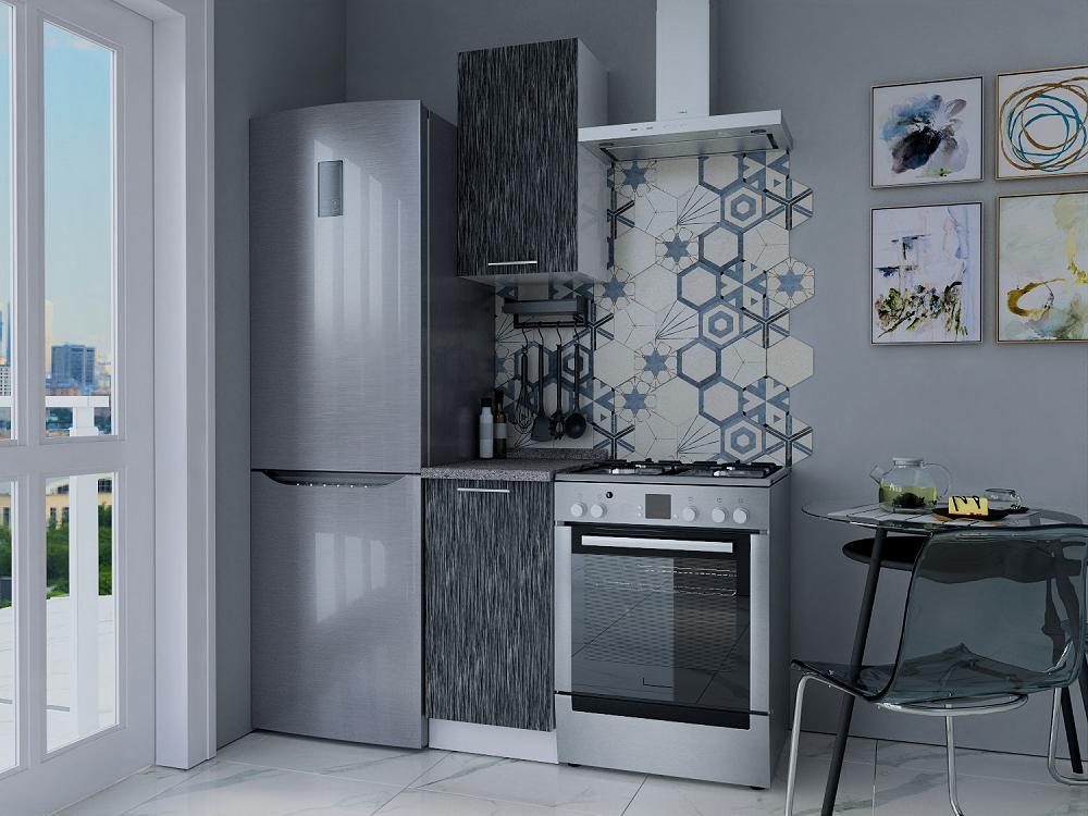 Прямая кухня Валерия-М-13 Серый металлик дождь светлый/Белый