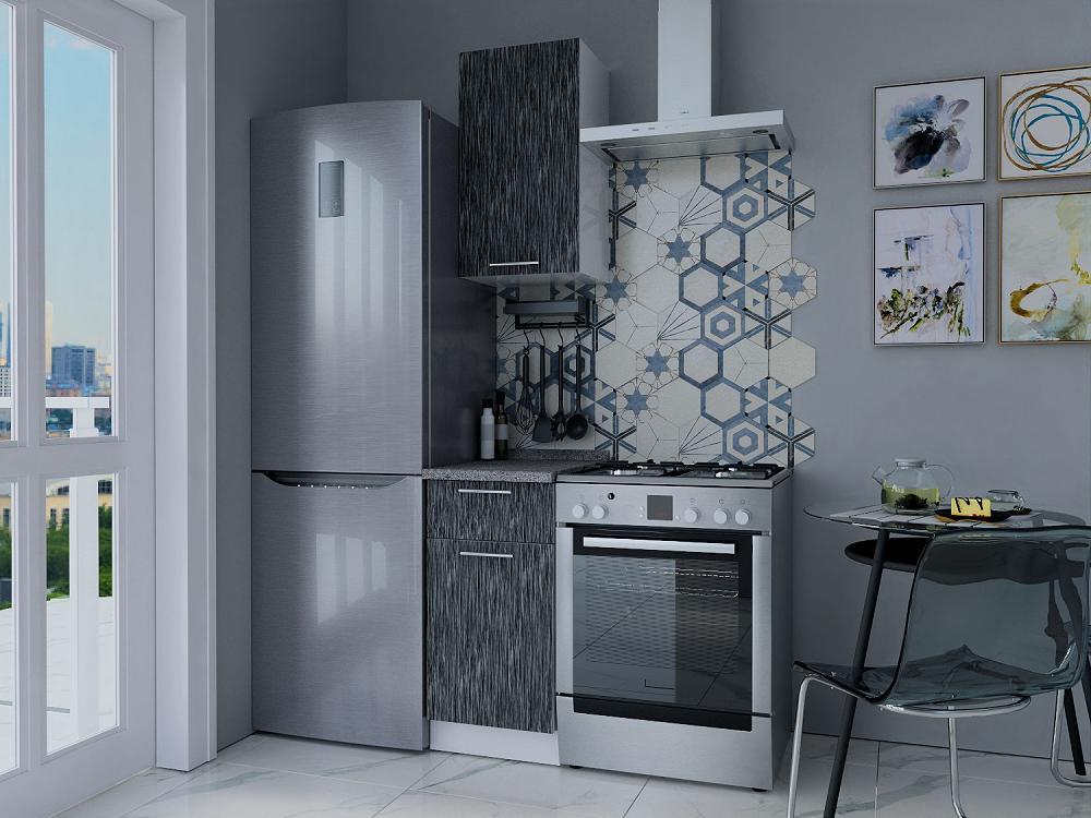 Прямая кухня Валерия-М-14 Серый металлик дождь светлый/Белый