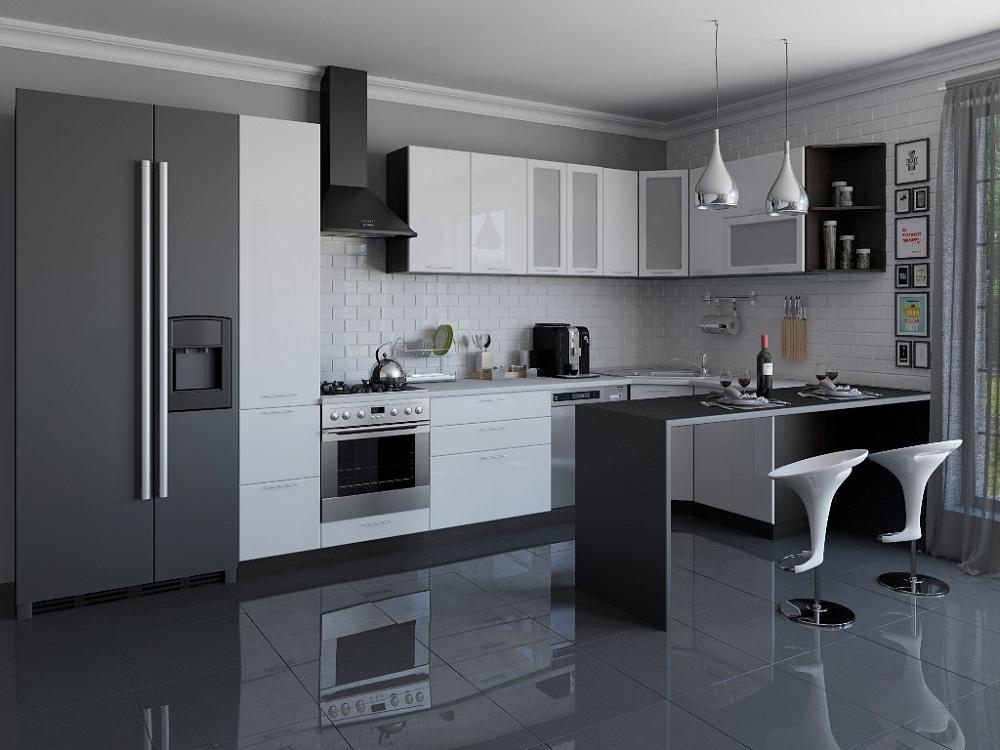 Угловая кухня Валерия-М-04 Белый глянец фото