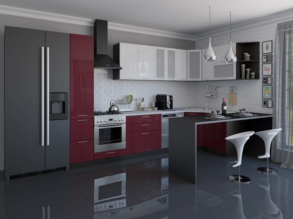 Угловая кухня Валерия-М-04 Белый глянец/Бордовый глянец фото