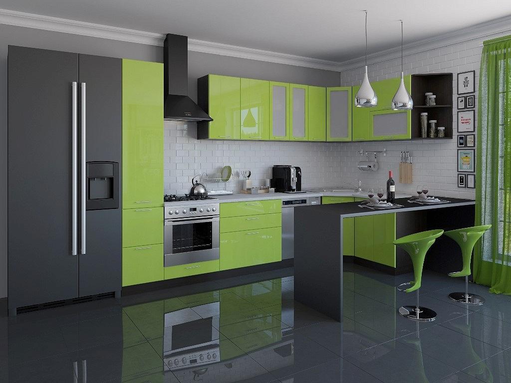 Угловая кухня Валерия-М-04 Салатовый глянец