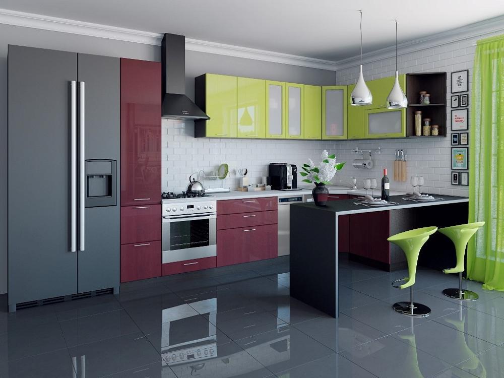 Угловая кухня Валерия-М-04 Лайм глянец/Бордовый глянец