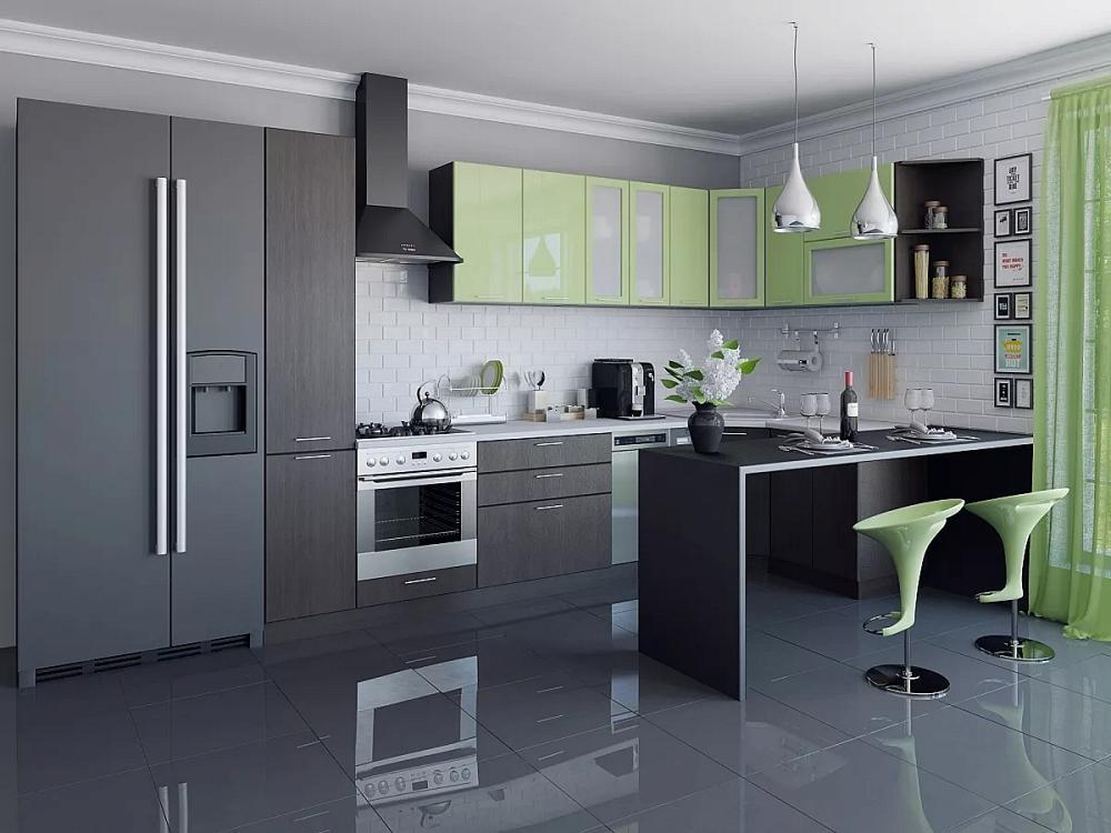 Угловая кухня Валерия-М-04 Салатовый глянец/Венге фото