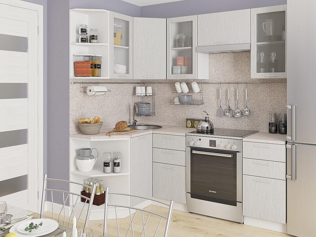 Купить со скидкой Угловая кухня Валерия-М-05 Серый металлик дождь светлый