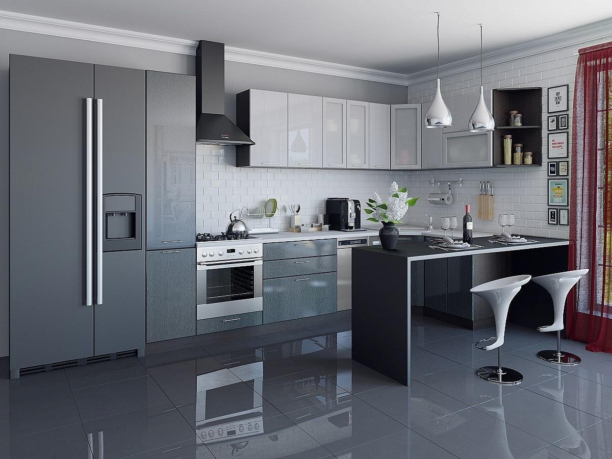Угловая кухня Валерия-М-04 Серый металлик дождь светлый/Черный металлик дождь