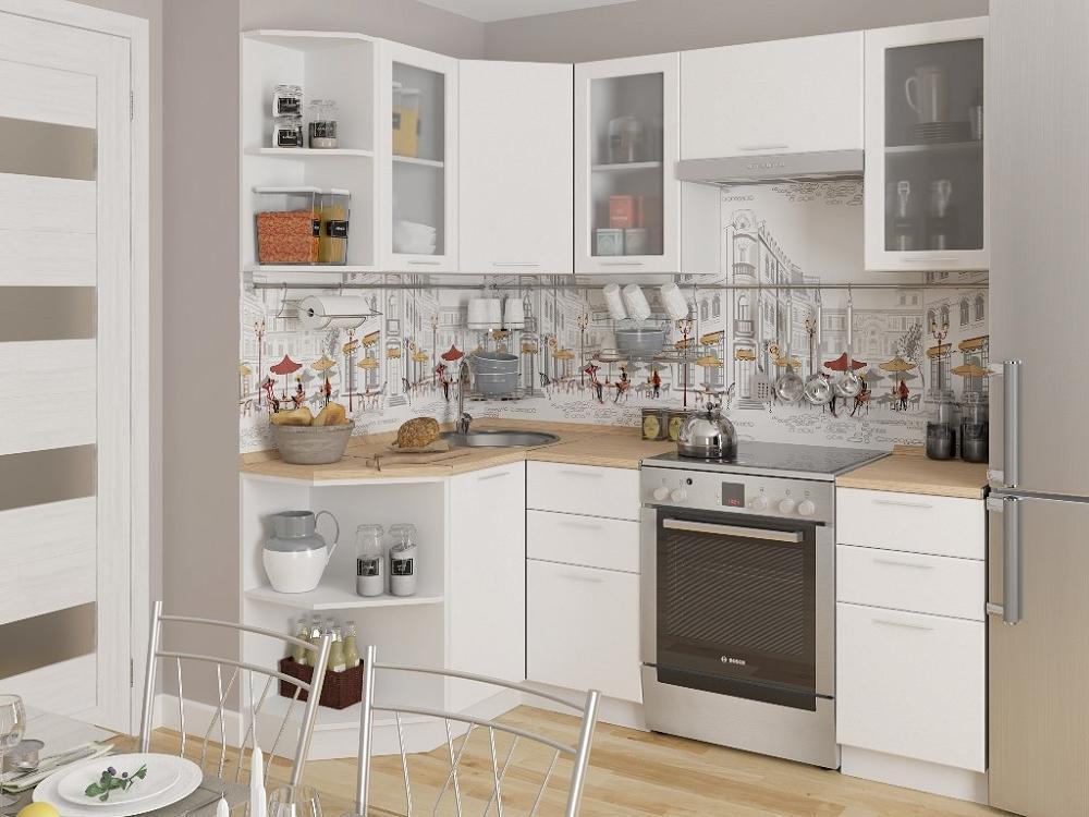 Угловая кухня Валерия-М-05 Белый металлик