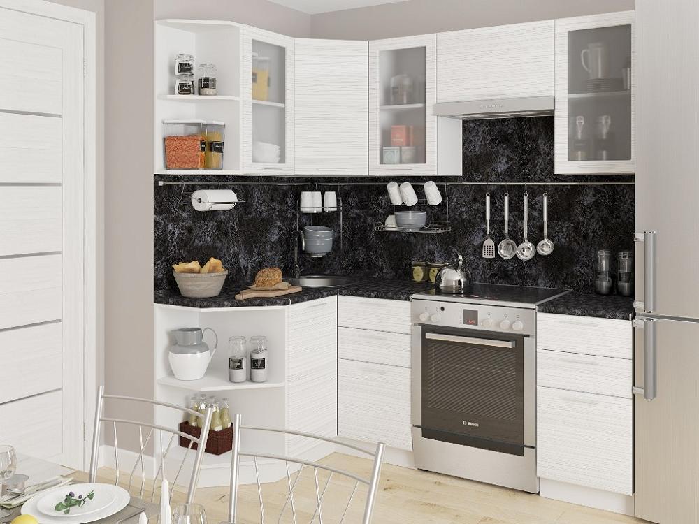 Угловая кухня Валерия-М-05 Белый глянец страйп фото