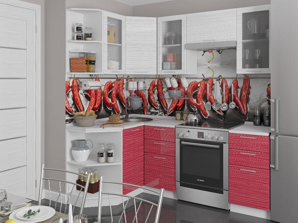 Угловая кухня Валерия-М-05 Белый глянец страйп/Красный глянец страйп фото