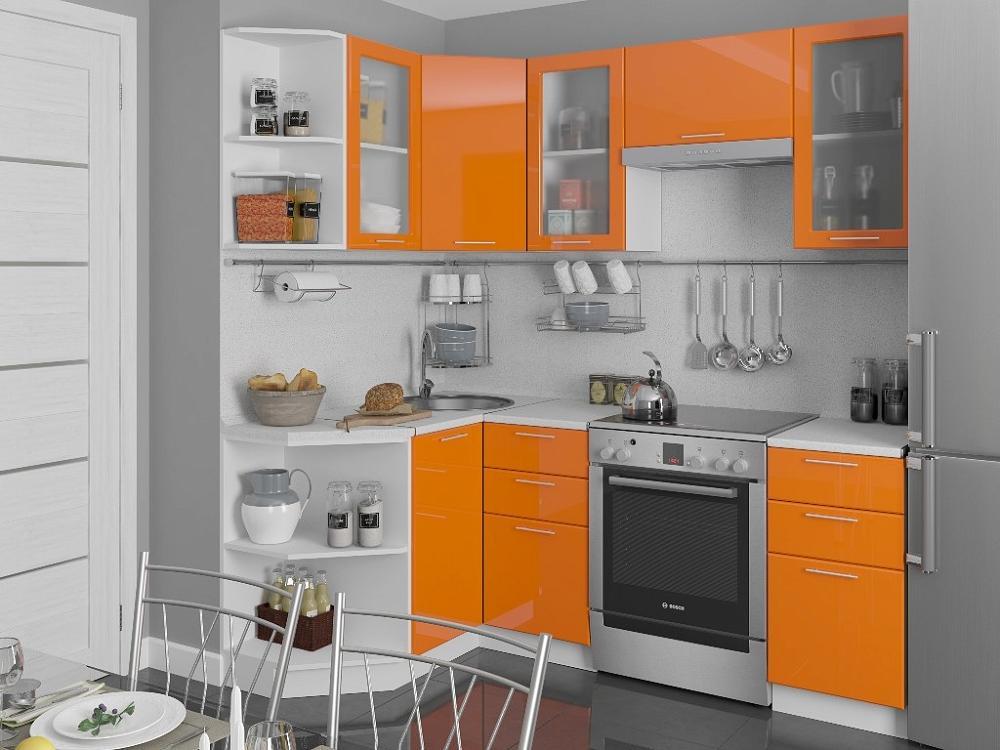 Угловая кухня Валерия-М-05 Оранжевый глянец фото