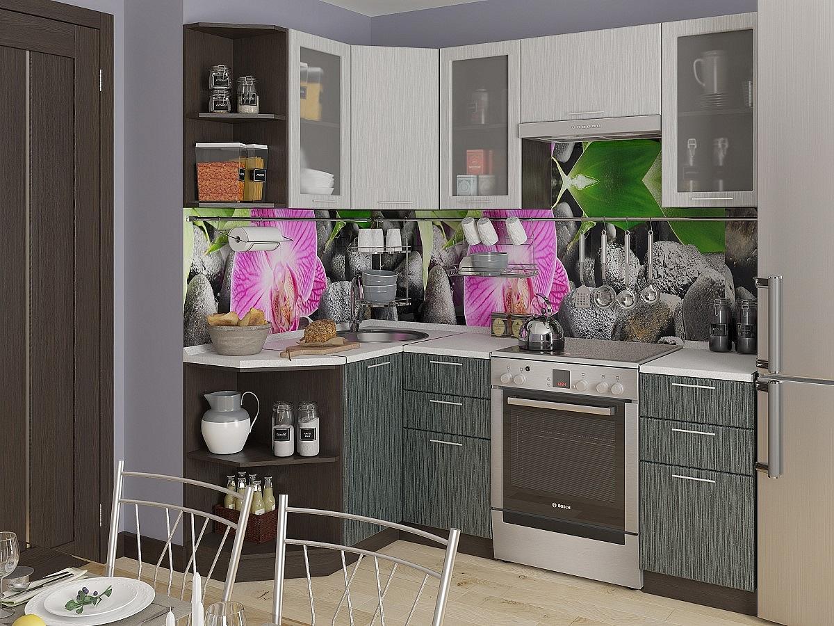 Угловая кухня Валерия-М-05 Серый металлик дождь светлый/Черный металлик дождь