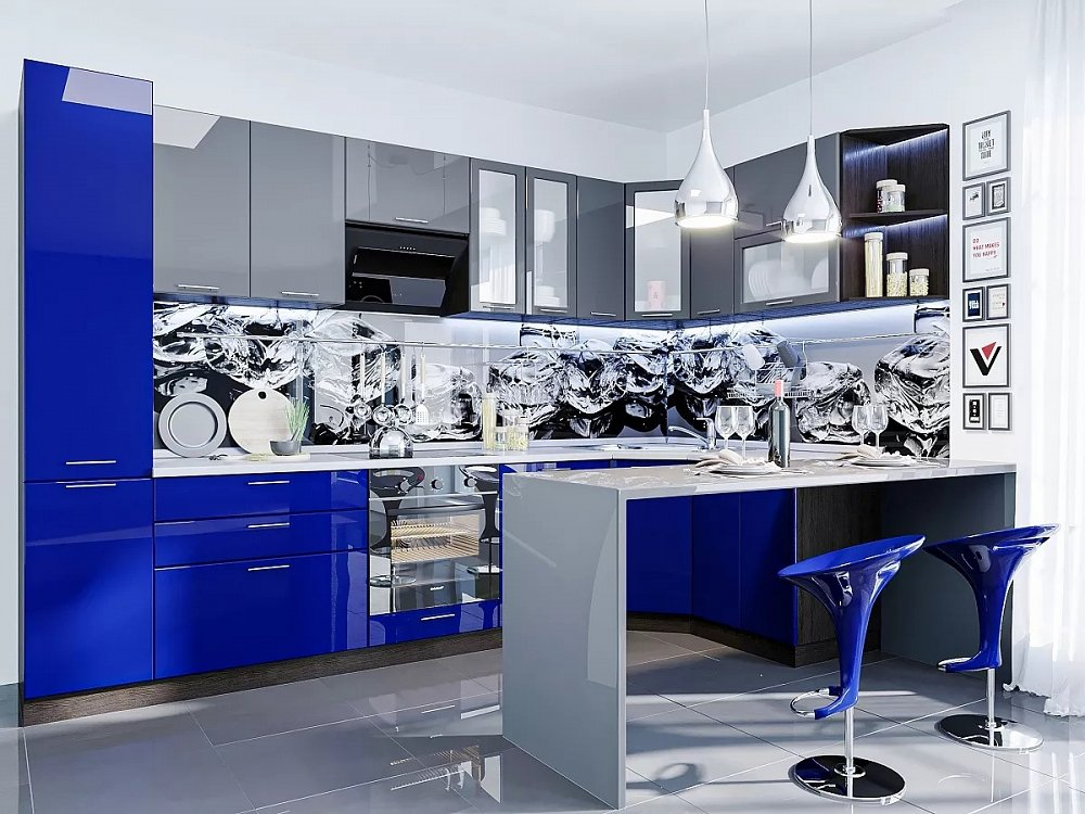 Угловая кухня Валерия-М-06 Антрацит/Синий
