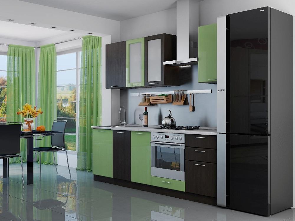 Прямая кухня Валерия-М-03 Салатовый глянец/Венге