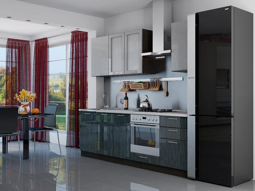 Прямая кухня Валерия-М-03 Серый металлик дождь/Чёрный металлик дождь фото