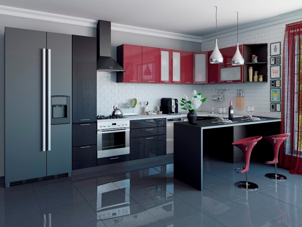 Угловая кухня Валерия-М-04 Бордовый глянец/Чёрный металлик фото