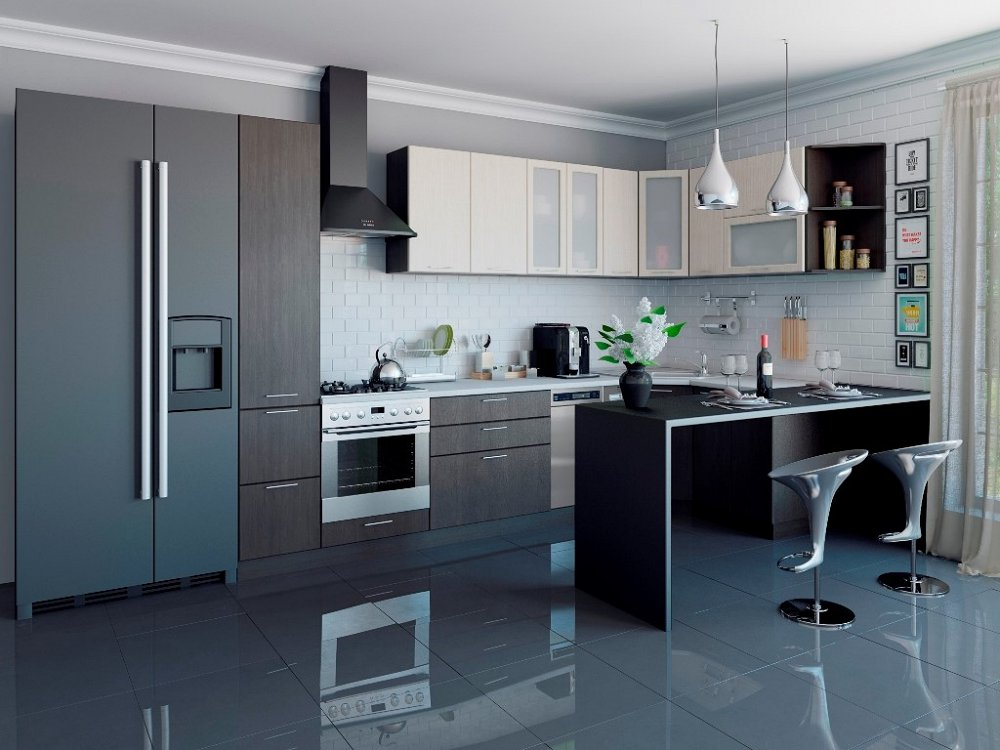 Угловая кухня Валерия-М-04 Дуб белёный/Венге фото