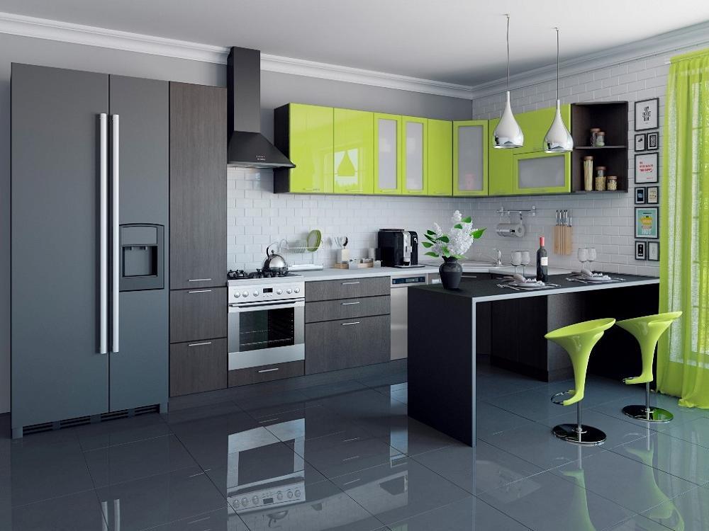 Угловая кухня Валерия-М-04 Лайм глянец/Венге фото