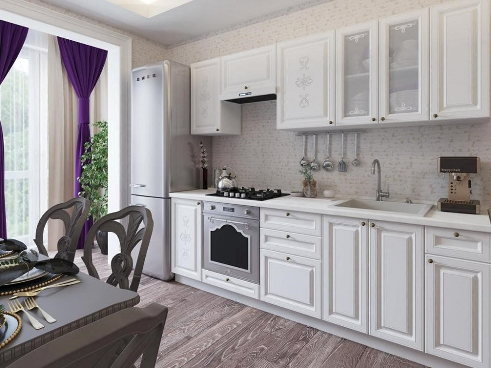 Прямая кухня Версаль-01 Белый Софт