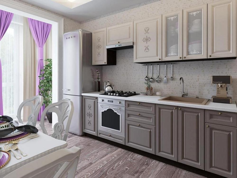 Прямая кухня Версаль-01 Латте Софт/Смоки Софт фото