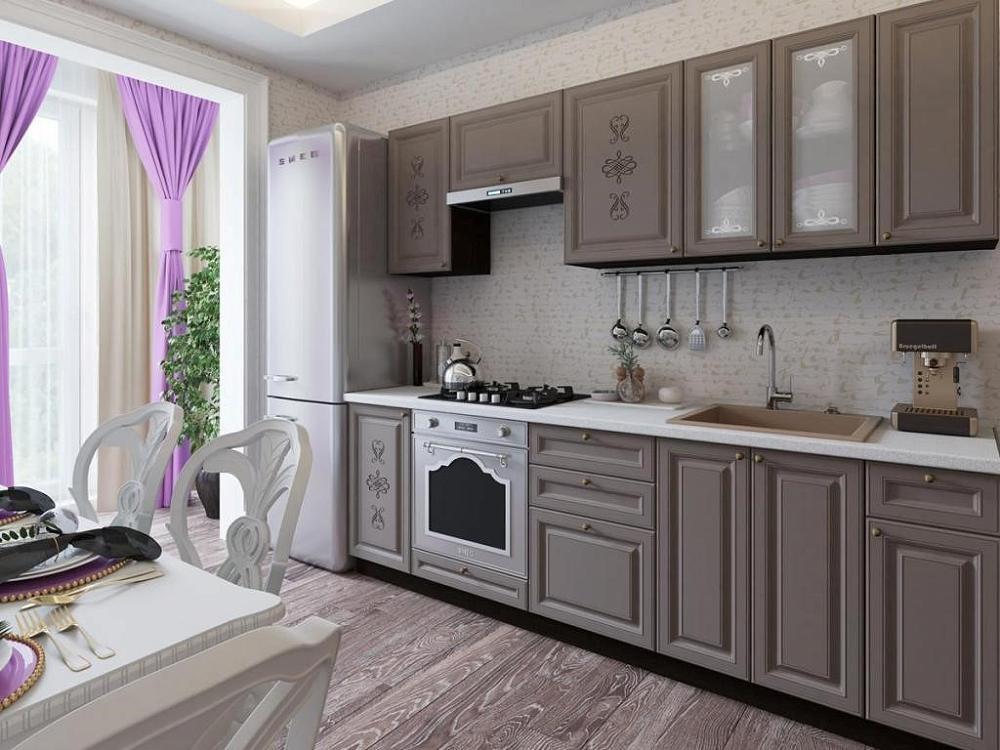 Прямая кухня Версаль-01 Смоки Софт
