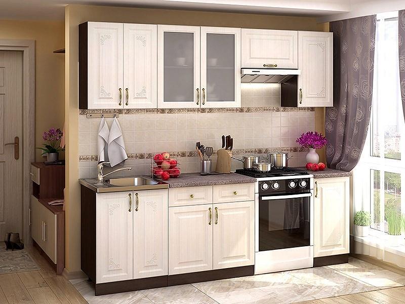 Прямая кухня Виктория-05 Белый сандал