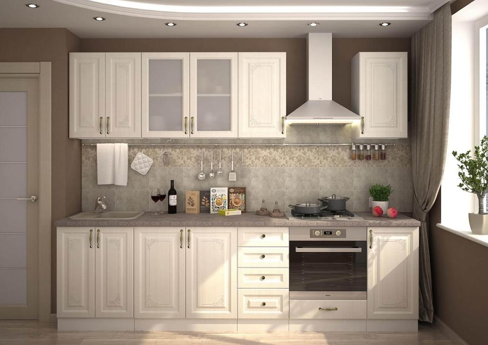 Прямая кухня Виктория-03 Белый сандал фото