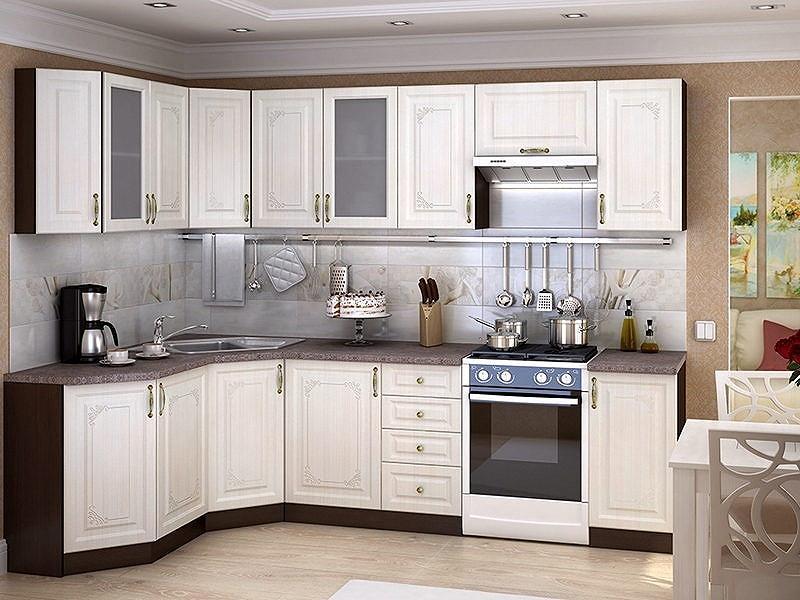Угловая кухня Виктория-04 Белый сандал