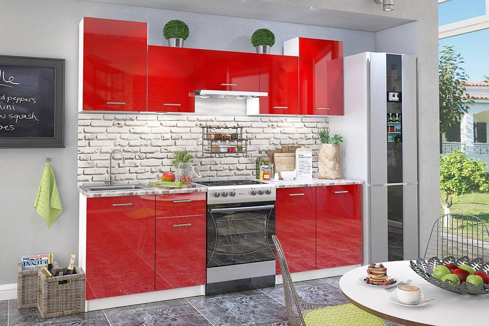 Кухонный гарнитур Бланка СТЛ.234.00 Белый/Красный глянец фото