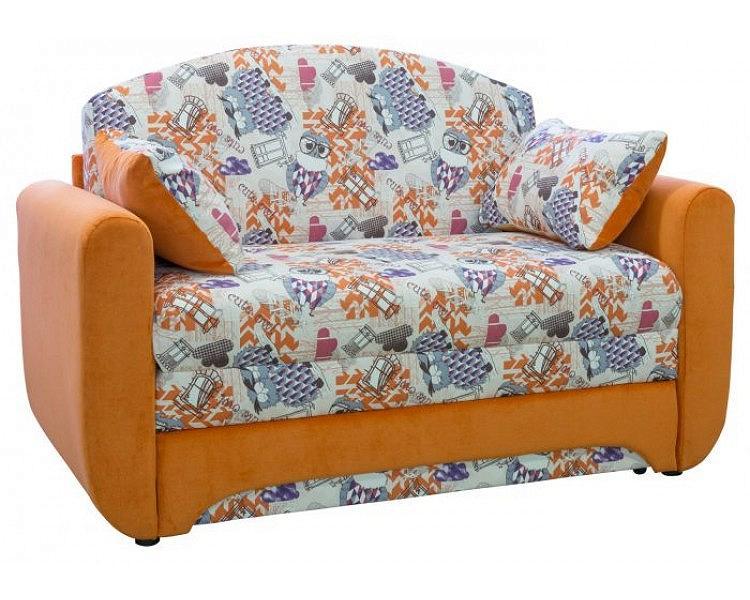 Диван - кровать Дюймовочка 1 Канваз филин манго/Лайт 11 оранж фото
