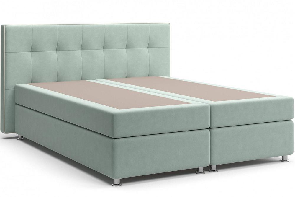 Кровать Николетт (17) Box Spring (с матрасом) Velutto 14 (Велюр)/Десерт 117 Cream (Искусственная кожа) фото