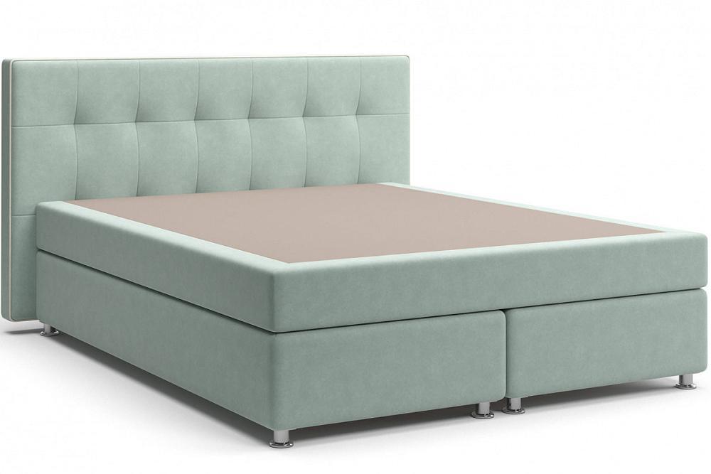 Кровать Николетт (18) Box Spring (с матрасом) Velutto 14 (Велюр)/Десерт 117 Cream (Искусственная кожа) фото