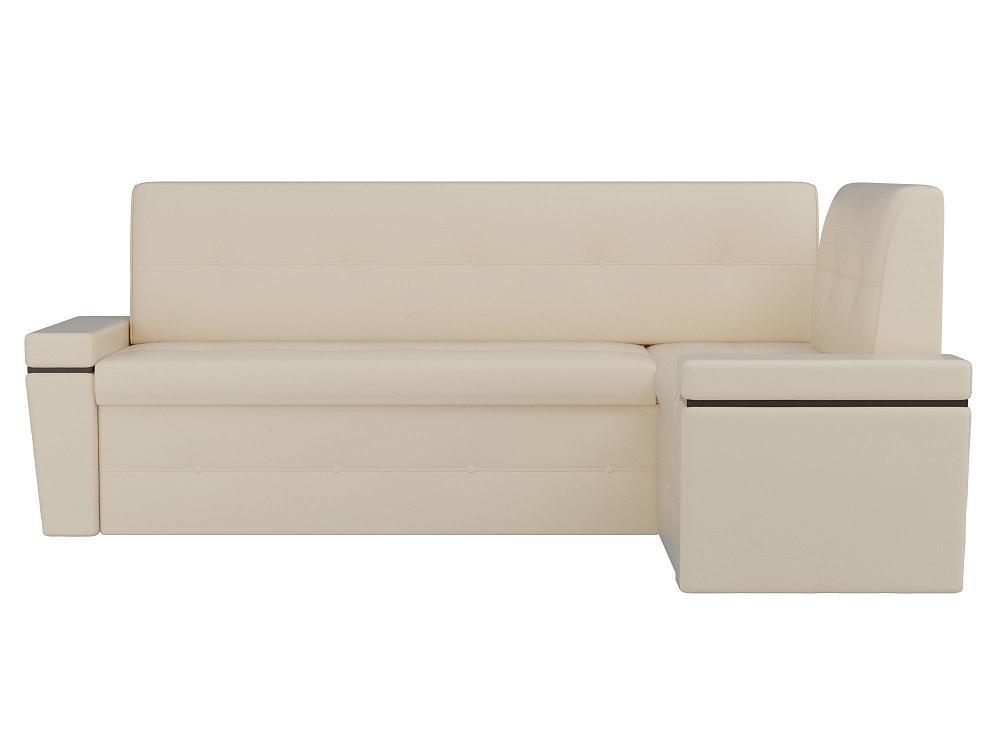 Кухонный угловой диван правый Деметра Экокожа Бежевый