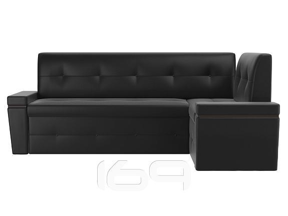 Купить Кухонный угловой диван правый Деметра Экокожа Черный в интернет магазине. Цены, фото, описания, характеристики, отзывы, обзоры