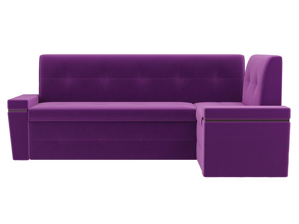 Кухонный угловой диван правый Деметра Микровельвет Фиолетовый