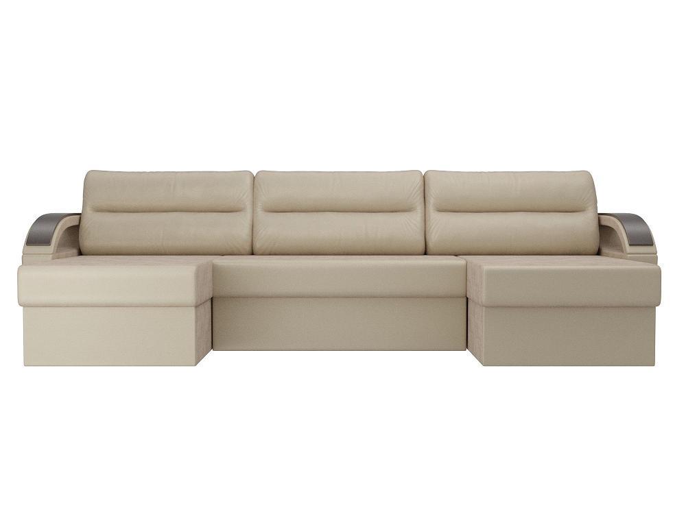 П-образный диван Форсайт Флок бежевый