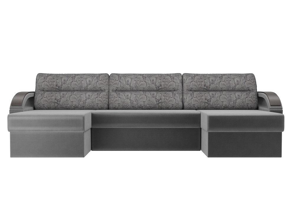 П-образный диван Форсайт Флок Серый фото