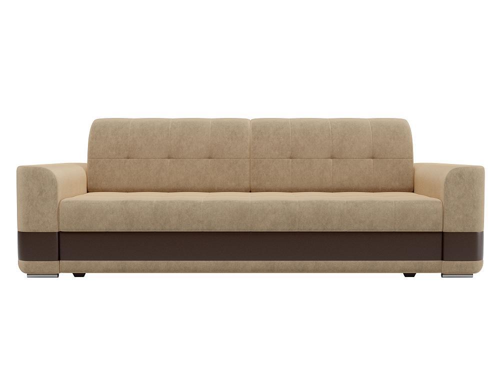 Прямой диван Честер Микровельвет бежевый/коричневый фото