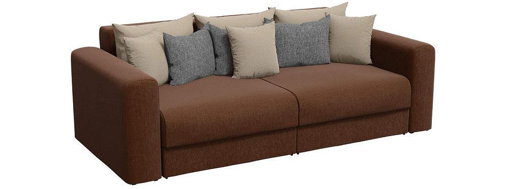 Прямой диван Мэдисон Рогожка Коричневый с бежевыми и серыми подушками фото