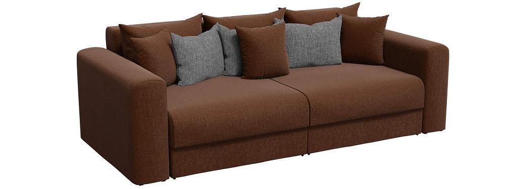 Прямой диван Мэдисон Рогожка Коричневый с серыми подушками фото