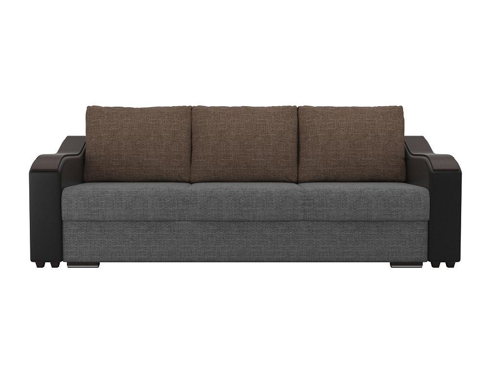 Прямой диван Монако Рогожка Серый/Черный фото