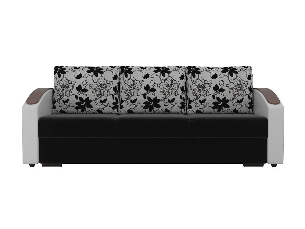 Прямой диван Монако slide Микровельвет Черный/Белый фото