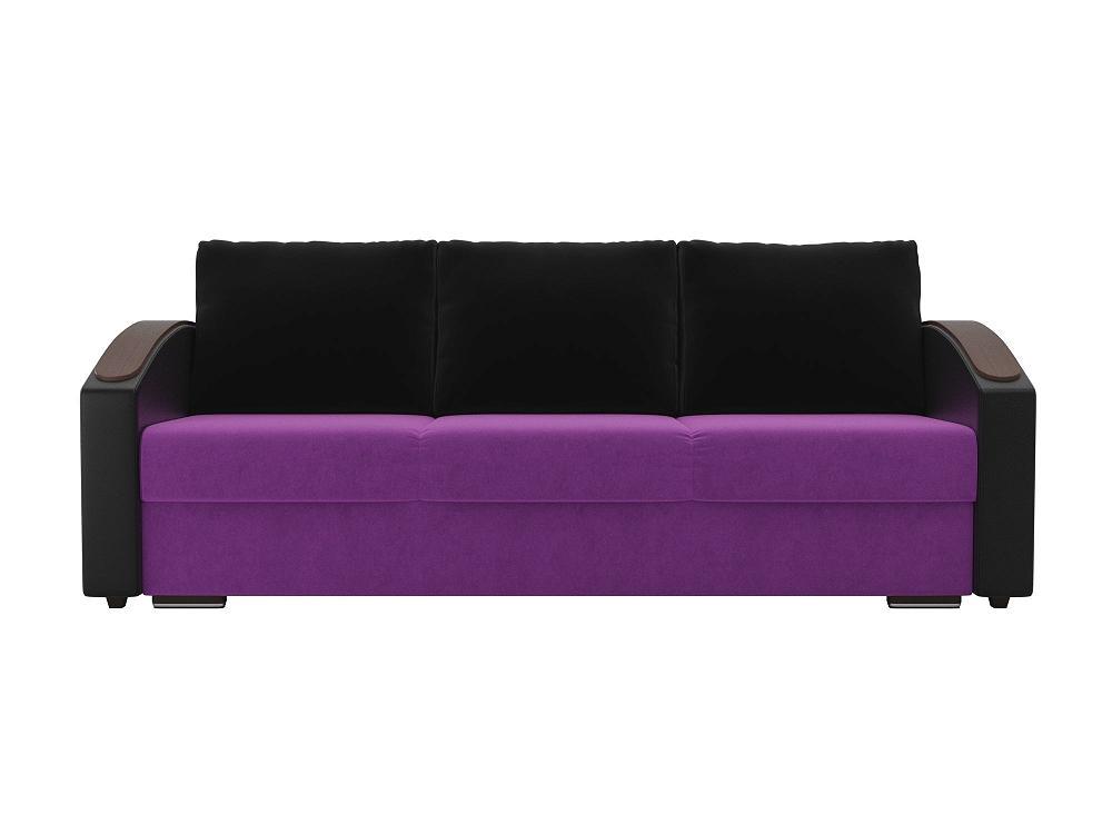 Прямой диван Монако slide Микровельвет Фиолетовый/Черный фото