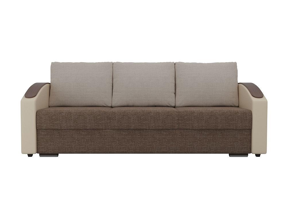 Прямой диван Монако slide Рогожка Коричневый/Бежевый фото