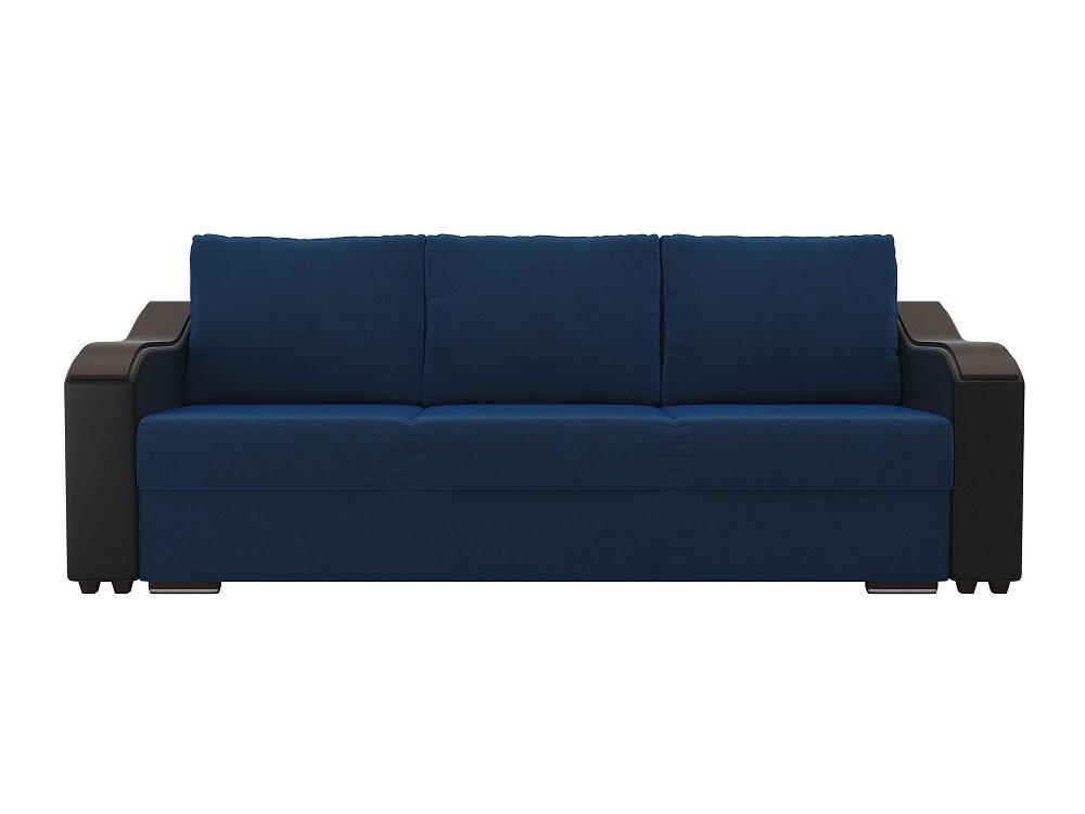 Прямой диван Монако Велюр Синий/Черный фото