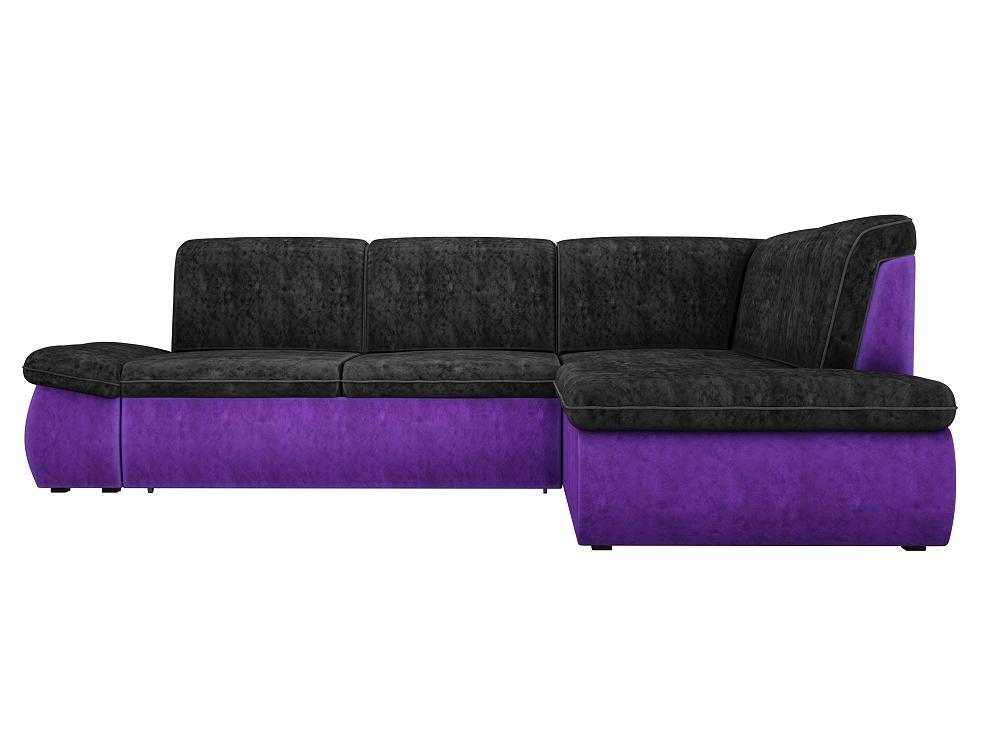 Угловой диван левый Дискавери Велюр черный/фиолетовый фото