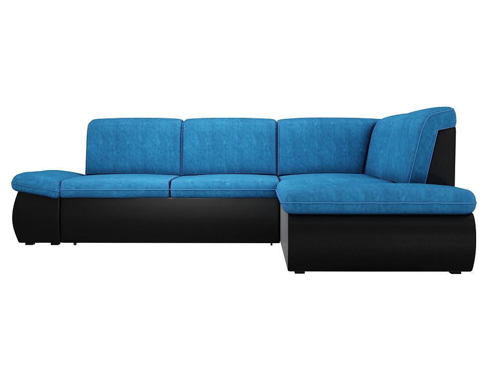 Угловой диван левый Дискавери Велюр голубой/черный фото