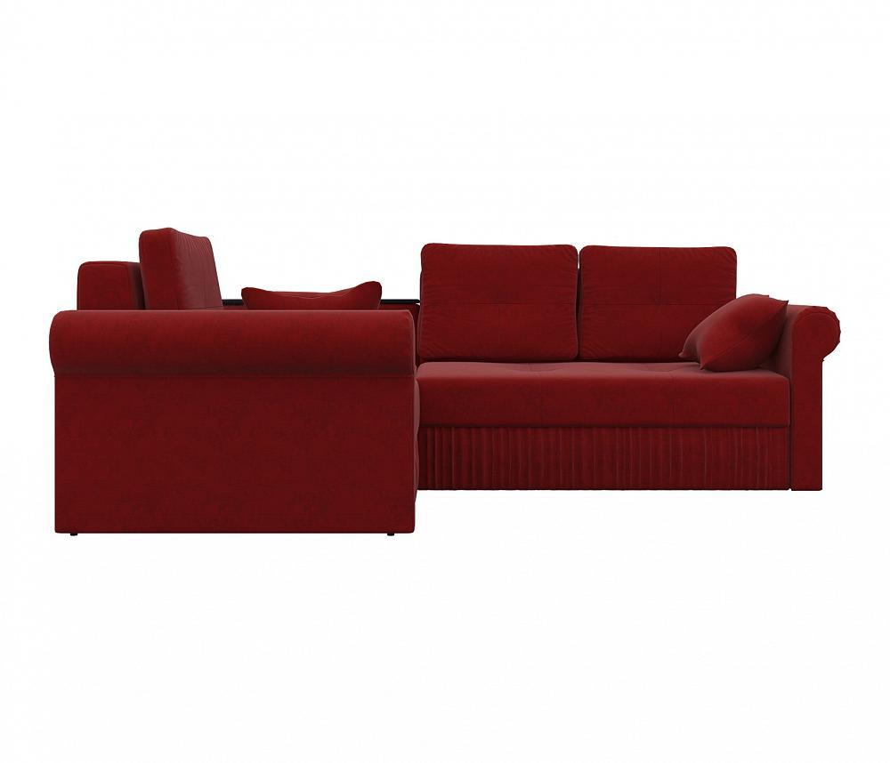 Угловой диван левый Юта Микровельвет красный фото