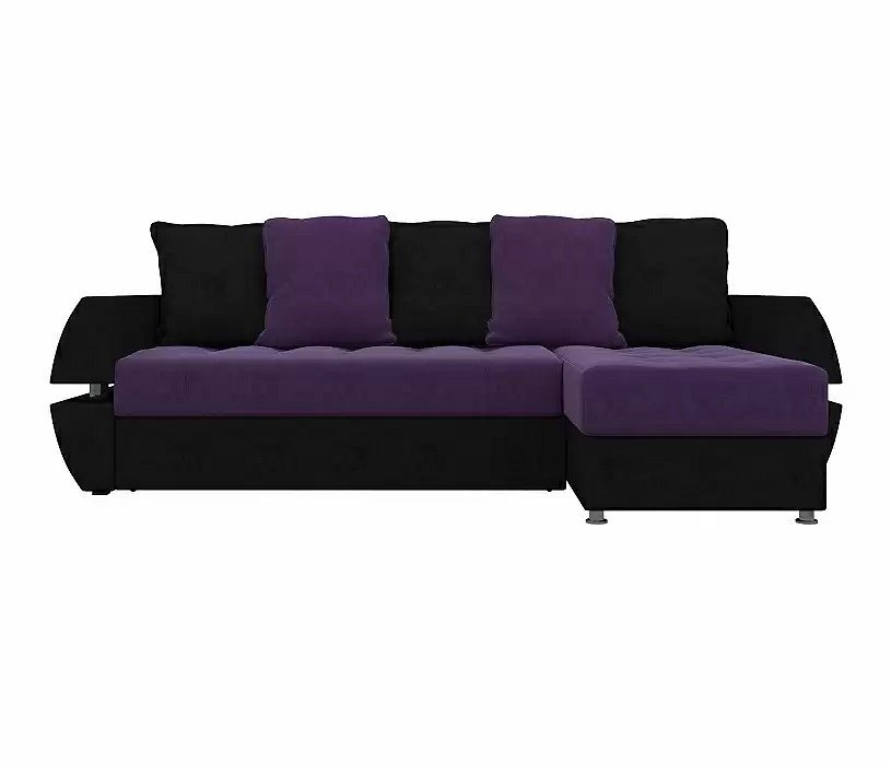 Диван угловой Атлантида У/Т правый Микровельвет Фиолетовый Черный фото