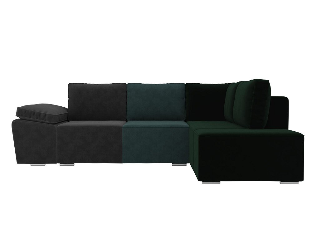 Диван угловой Хавьер правый Велюр Серый Бирюзовый Зеленый фото
